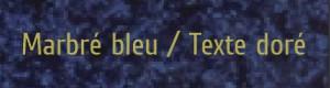 Plaque de boite aux lettres PVC marbré bleu texte doré